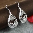 New Vintage Women's 925 Sterling Silver Swarovski Crystal Pendant Hoop Earrings