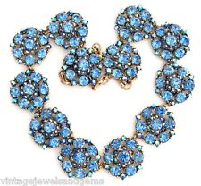 BLUE AURORA BOREALIS CRYSTAL RHINESTONE Vtg Floral Collar Bib Statement Necklace