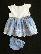 Baby clothes GIRL premature/tiny 7.5lbs/3.4kg white/blue embroidered dress+pants