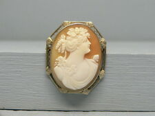 Beautiful 14K White Gold  Intricately Carved Cameo Pin Pendant