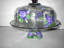 HAND PAINTED PURPLE ROSES CAKE PLATE/PUNCH BOWL(MADE IN THE USA)