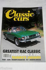 Classic Cars Aug 1990: Triumph Stag & 1800 Roadster/Alfa Montreal/Tr7 Guide/