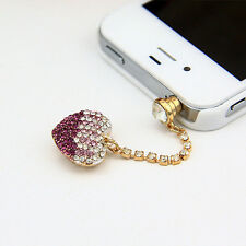Bling Purple Heart  Anti Dust Plug for iPhone,Samsung Galaxy&3.5mm Earphone Jack