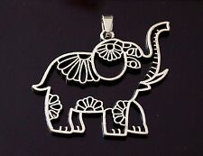 1 Filigree Tibetan Silver Animal Lucky Elephant Charm Pendant 41mm (TSC85)