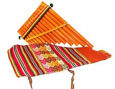 "Pan Flute & Cotton Pouch Andes Music Instrument Peru Fair Trade Zampona 7"" Wind"