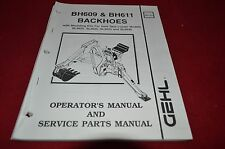 Gehl Skid Steer Loader BH609 BH611 Backhoes Dealer Parts Book BVPA