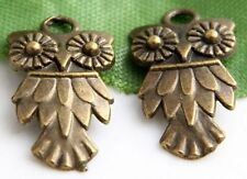 Free Ship 40Pcs Bronze Plated Owl Charms 20x11mm