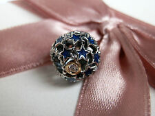 100% GENUINE PANDORA NEW 14K GOLD & SS BLUE NIGHT SKY CHARM-791371CZ