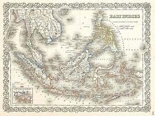 1855 COLTON MAP EAST INDIES SINGAPORE THAILAND BORNEO POSTER PICTURE 2914PYLV