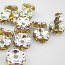 NEW for jewelry 100pcs Size 8MM Plated silver crystal spacer beads Amber colors