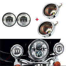 2x 4.5'' Motorcycle LED Fog Lights & Lamp Outer Cover Housing Bracket For Harley