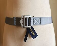 RALPH LAURENT GREY RLX GOLF WEBBED NYLON WITH HEAVY SLIDER BUCKLE LOGO S SMALL