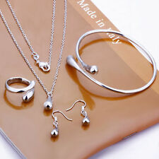 925 Sterling Silver Jewel Wedding Set Ring Necklace Earring Bangle Water Tear