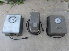 3 1960's VINTAGE STROMBERG INDUSTRIAL TIME CARD Machines AS FOUND Steampunk Old