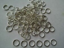 100 pcs 8mm Silver plated double loop open jump split rings jewellery findings