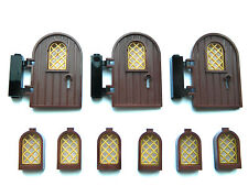 LEGO doors x3 + windows x6 brown gold for castle house modular hinges keyhole