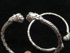 Pair Of New Lion Head Handmade West Indian Sterling Silver Bangles