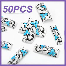 50pcs white Back Butterfly French False Nail Tips FN0030+1 Free Glue