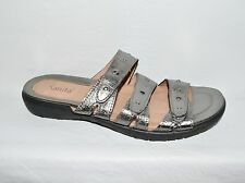 SANITA SZ 11 M 42 STUDDED SILVER LEATHER LOW HEEL PLATFORM SLIDES SANDALS