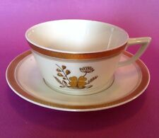 Royal Copenhagen Golden Clover Tea Cup And Saucer 4 Leaf Clover In Gold Moriage