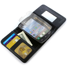 Wallet Case for LG Sunrise L15G / Lucky L16C Black Card Cover + Screen Protector