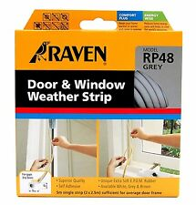 Raven WINDOW & DOOR WEATHER STRIP Self Adhesive Rubber Covers 3-5mm Gap 5m WHITE