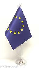 European Union (EU) Satin Flag with Chrome Base Table Desk Flag Set