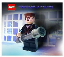 Custom Lego EX Terminator T-800 Battle Damaged T2 T-101 Minifig w/ Minigun!