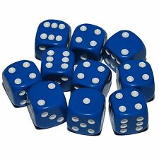 10 Blue Dice, (six sided), 16mm , D6