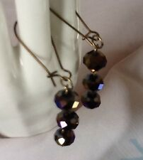 Bronze Crystal Dangle Earrings Upcycled Vintage Faceted AB Cut Glass Opaque Bead