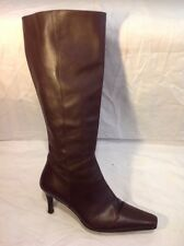 John White Brown Knee High Leather Boots Size 38