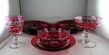 12 Pcs. Val St. Lambert Crystal Ruby Cut to Clear - Blarney - Glasses, Plates+
