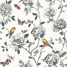 Amour Black and White Floral Red / Yellow Butterfly Birds Wallpaper 204322