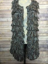 LUMIERE Anthropologie Cardigan Vest Brown Fringe Boho Cute SZ L