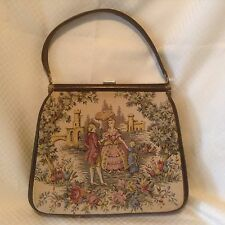 Vintage Tapestry Framed Purse Handbag JR Florida USA Floral Castle Victorian