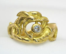 Antique FRENCH 18k Yellow Gold & Solitaire Diamond DRAGON or GRIFFIN Ring - Sz Q