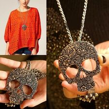 Fashion Women Bronze Vintage Punk Rock Gothic Skull Pendant Necklace Long Chain