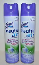 LOT OF 2 LYSOL NEUTRA AIR MORNING DEW SCENT SANITIZING SPRAY AIR FRESHENER NEW
