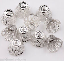 100 Pcs 7*9mm Filigree Flower Cone End Bead Cap Silver DIY Jewelry Findings New