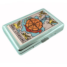 Tarot Card D11 Silver Metal Cigarette Case RFID Protection X Wheel of Fortune