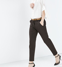ZARA BROWN TAILORED PANTS TROUSERS SPOTTED DOTS INCLUDING BELT OFFICE STYLISH M