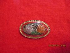"""1-Czech Glass Gold Accented Flowers w/Background Colors-Oval Button-1.618""""x.949"""""""