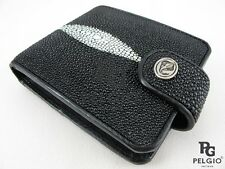 PELGIO Genuine Stingray Skin Leather Removable Coins Purse Bifold Wallet Black