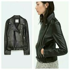 Zara Womens Authentic Leather Motorcycle Moto Biker Jacket Size S Small