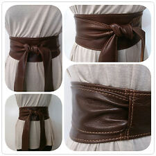 Brown Real Leather Obi Belt Sash Corset Tie Belt Wrap Spanish Handmade UK