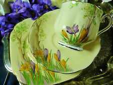 CROWN ROYAL ALBERT TEA CUP AND SAUCER TRIO ~CROCUS~ HP CROCUS DECO c1932