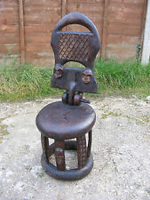 Antique Vintage African Handmade Carved Tribal Folding Back Wooden Chair Stool