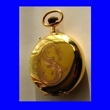 Stunnning 14k Gold Roskopf   Patent Hunter Pocket Watch 1900