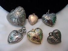 Vintage Engraved Puffy Heart Gold Silver Plate Charm Lot Antique