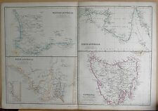 1860  LARGE ANTIQUE MAP - WESTERN, SOUTH, NORTHERN AUSTRALIA, TASMANIA